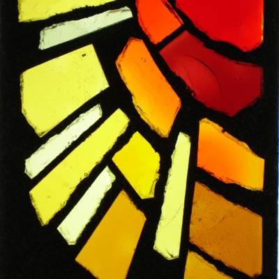 Vitrail dalle  de verre Soleil 25 x 34 cm
