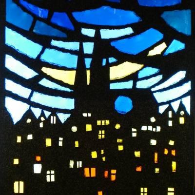 Vitrail dalle de verre  Chartres de nuit 50 x 70 cm