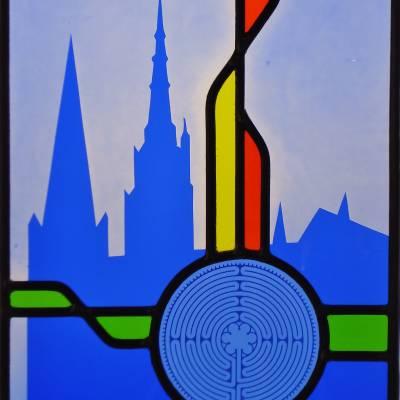 vitrail Labyrinthe bleu 25 x 34 cm