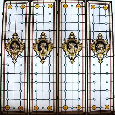 4 vitraux renaissance 19ème siècle