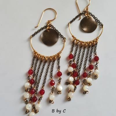Boucles d'oreilles chandelier Agate rose et Nacre. Dorée. Bijoux B by C 60€