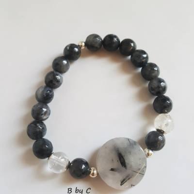 Bracelet en Labradorite et Cristal de Roche Bijoux B by C 45€