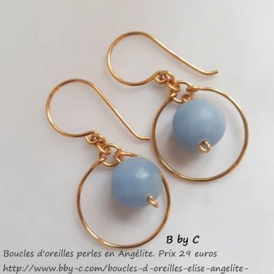 Boucles d'oreilles dorées et Angélite Elise boucles d'oreilles  29€ http://www.bby-c.com
