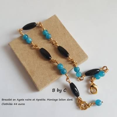 Bracelet doré Agate et Apatite 44€