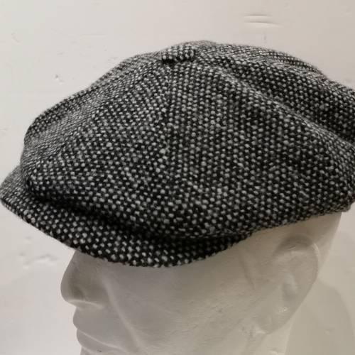 Casquette gavroche tweed noir